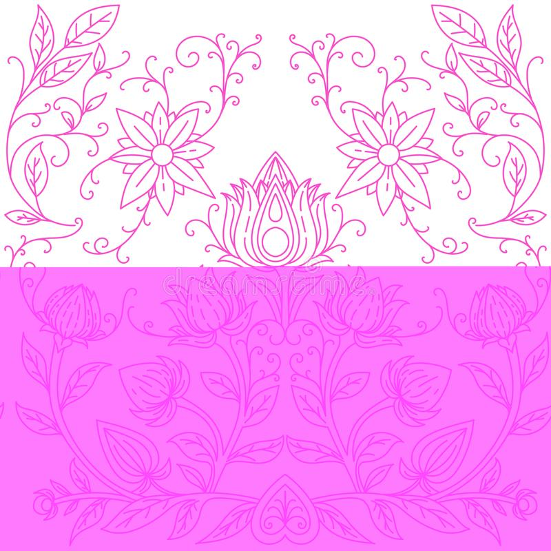 Seamless pattern pink irises on a white blue-purple backgroundSymmetrical pattern of flowers. Print for textiles. Vector. Seamless pattern pink irises on a white royalty free illustration
