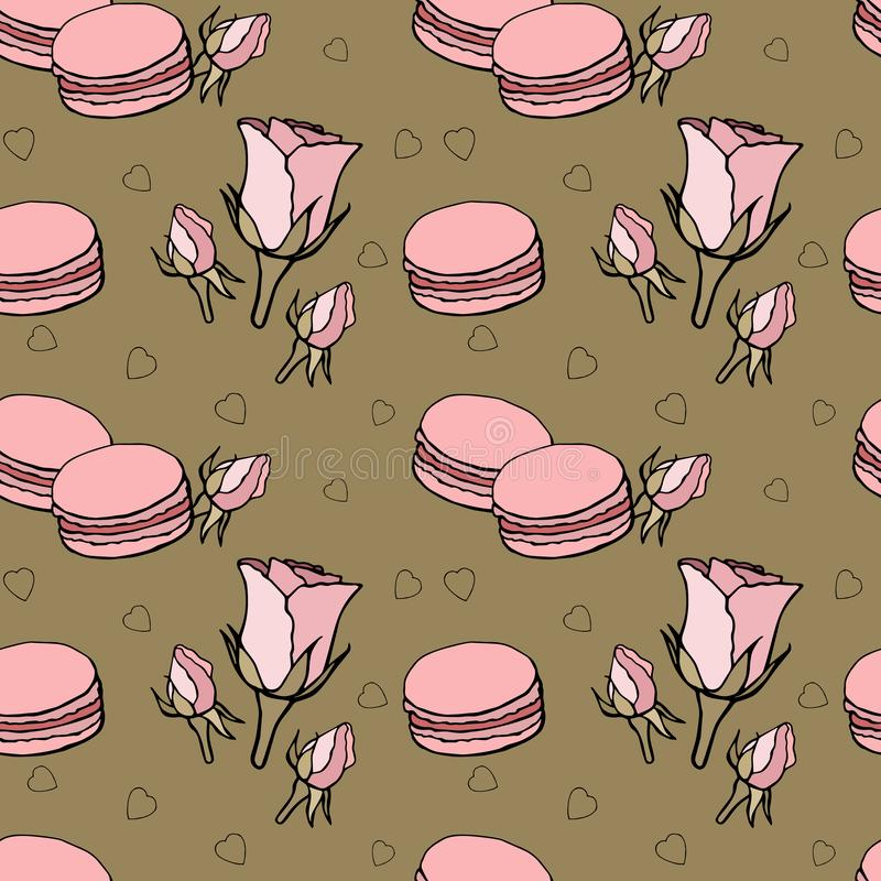 Seamless pattern with pink macaroons and roses on dark background stock illustration