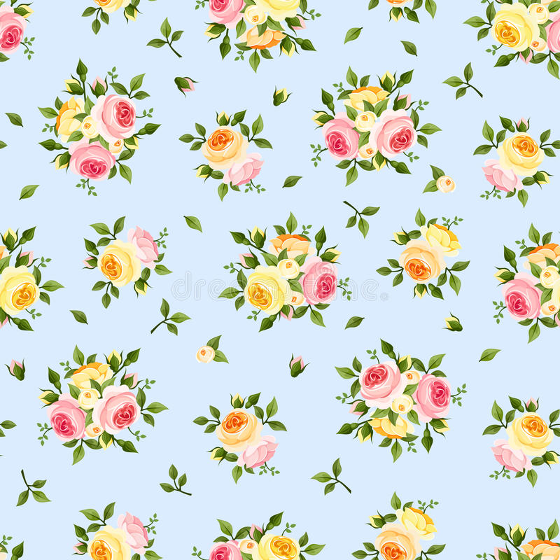 Seamless pattern with pink, orange and yellow roses on blue. Vector illustration. Vector seamless pattern with pink, orange and yellow English roses on a blue vector illustration