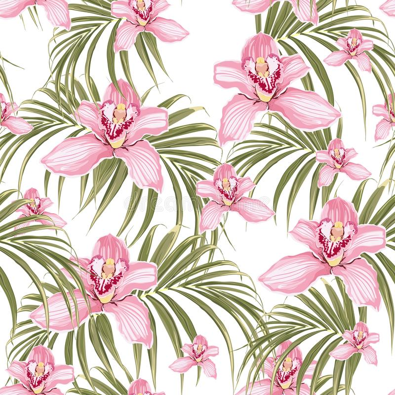 Seamless pattern of pink orchid flower and tropical palm leaves on white background. Vector set of exotic tropical garden for holiday invitations, greeting vector illustration