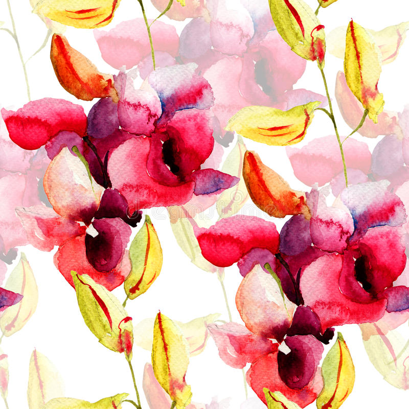 Download Seamless Pattern With Pink Orchids Flowers Stock Illustration - Illustration of blossom, fabric: 33934669