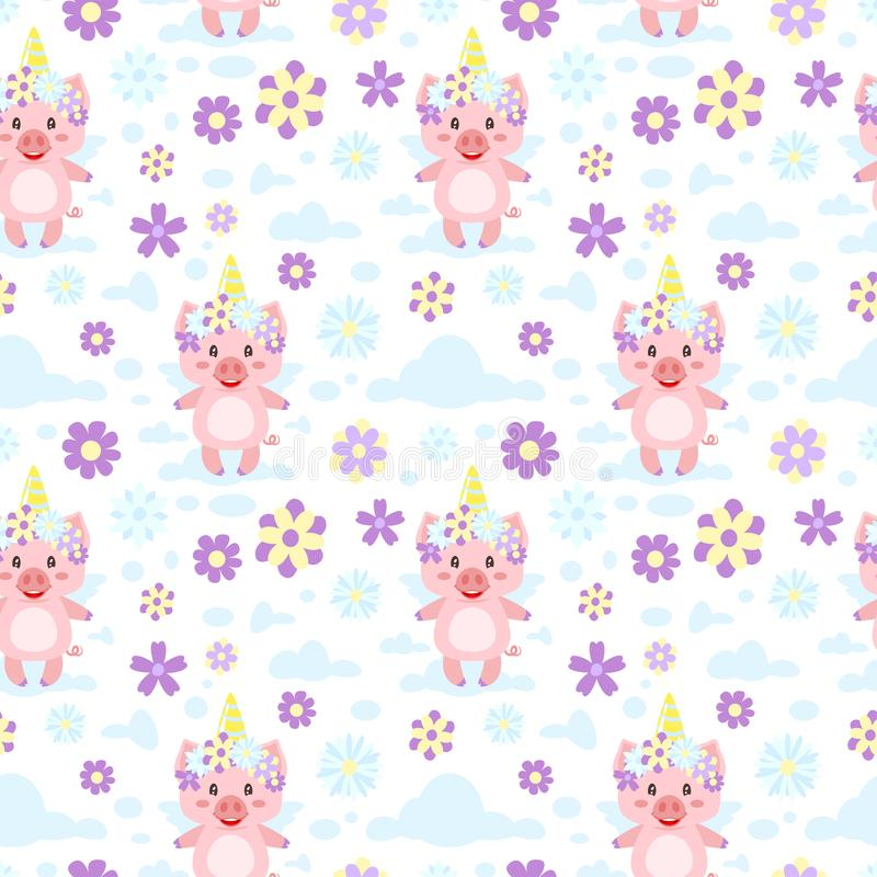Seamless pattern with pink pig royalty free illustration