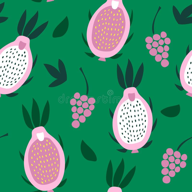 Seamless pattern of pink pitaya and grapes on a green background. vector illustration