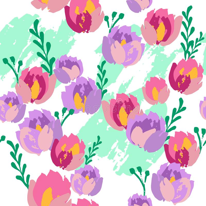 Seamless pattern with pink and purple flowers on white green background stock illustration