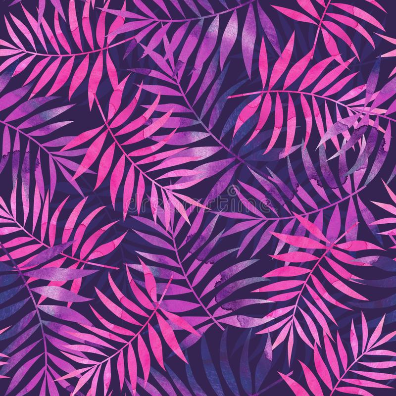Seamless pattern with pink and purple tropical palm leaves on da vector illustration