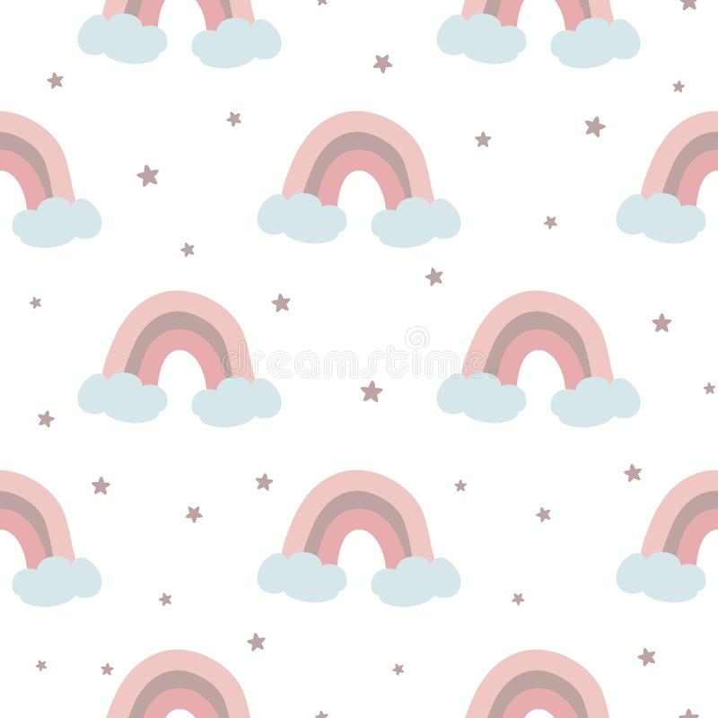 Seamless pattern with pink rainbow clouds stars Pink baby girl pattern Vector. Pink rainbow seamless pattern decorated clouds stars for baby girl design template royalty free illustration