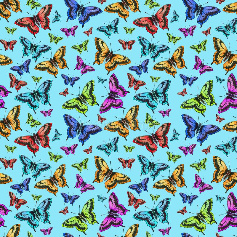 Seamless pattern of pink, red, green, yellow butterfly royalty free illustration