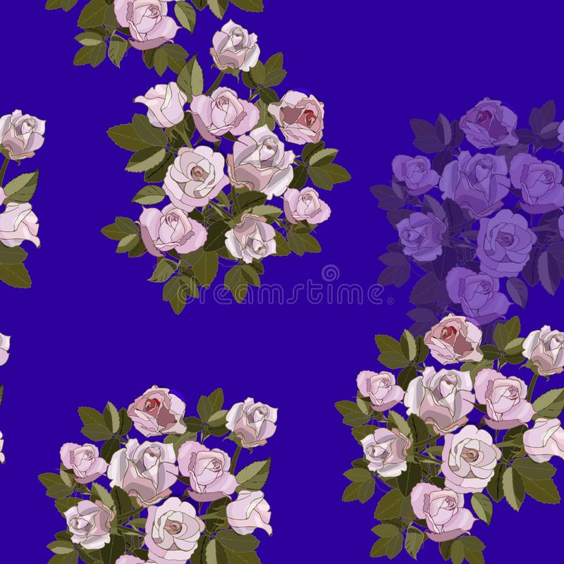 Seamless pattern with pink roses on the blue background.  stock illustration
