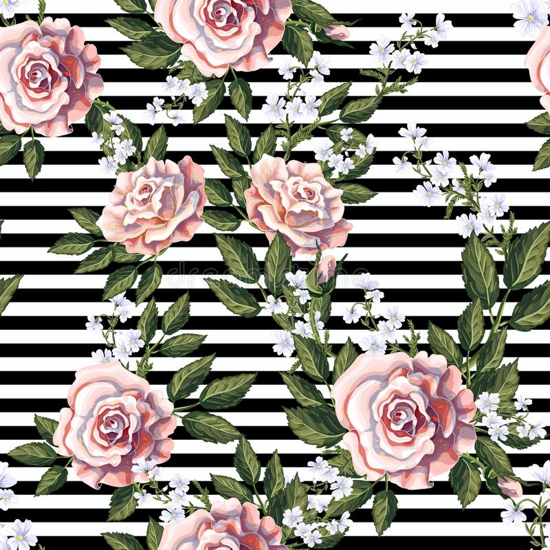 Seamless pattern with pink roses, leaves and white flowers. Vector illustration. Seamless pattern with pink roses, leaves and white flowers stock illustration