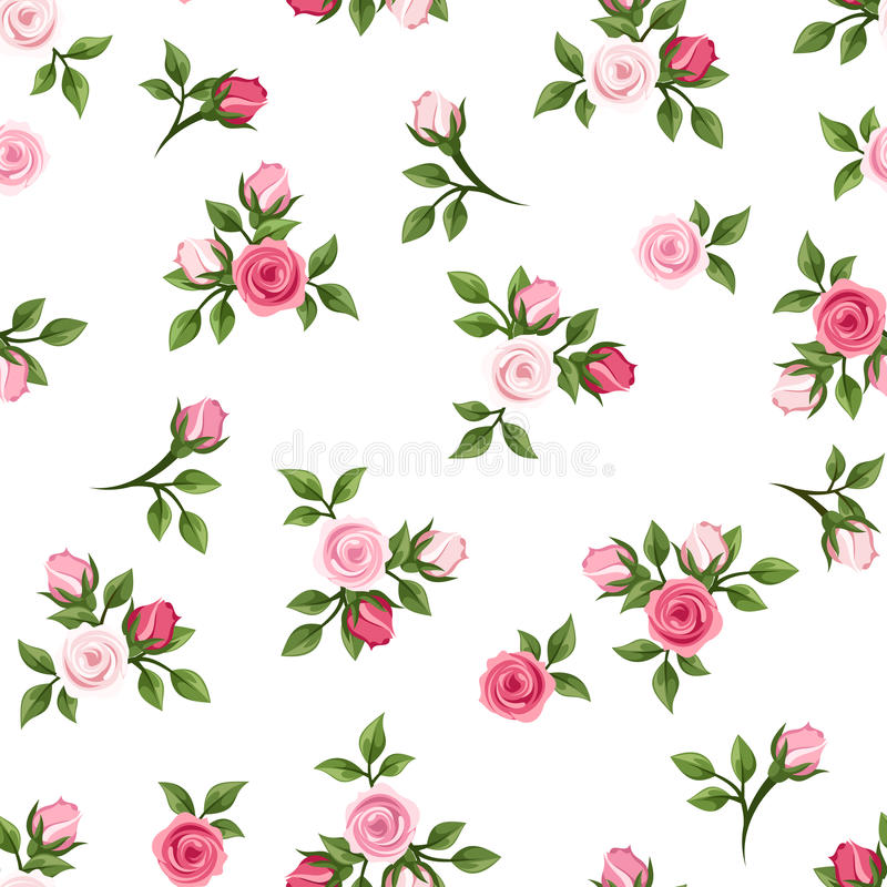 Seamless pattern with pink roses. Vector illustration. Vector seamless pattern with small pink roses on a white background stock illustration