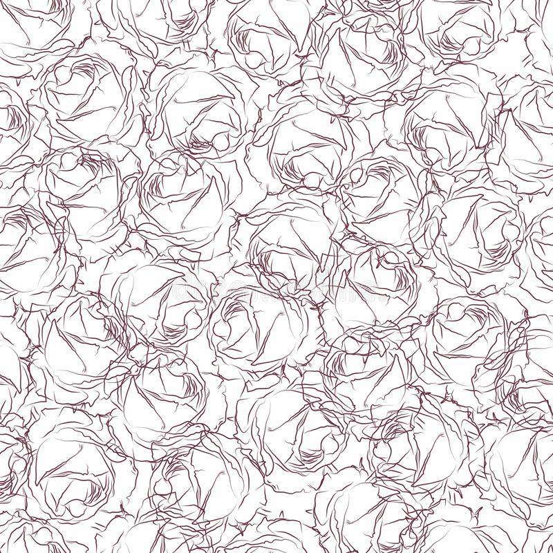 Seamless pattern in pink roses on a white background. Wallpaper in drawn roses royalty free stock photo