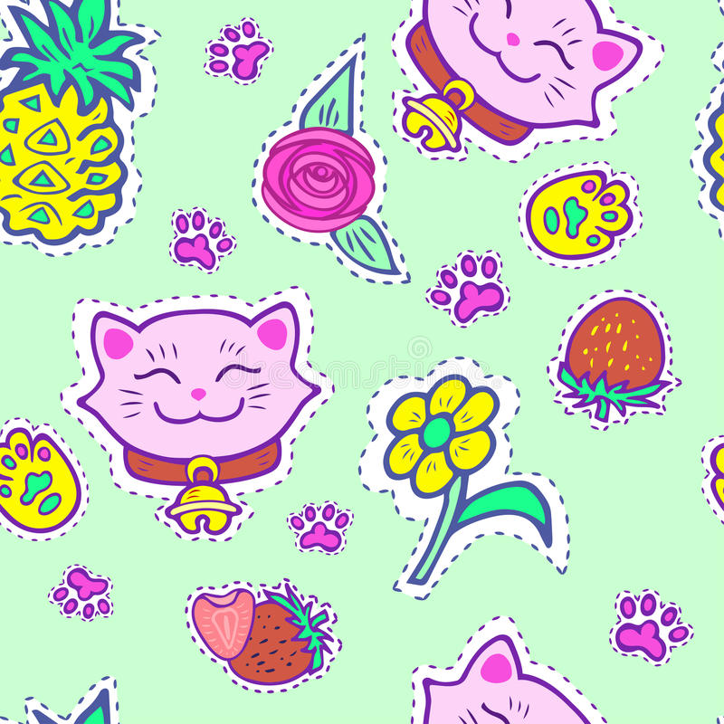 Seamless pattern with pink smiling cat vector illustration