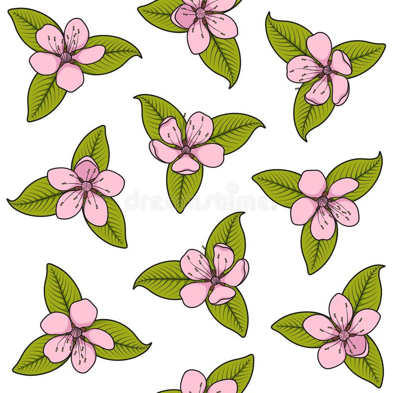 Seamless pattern with pink spring flowers. Color vector illustration with isolated objects. stock illustration