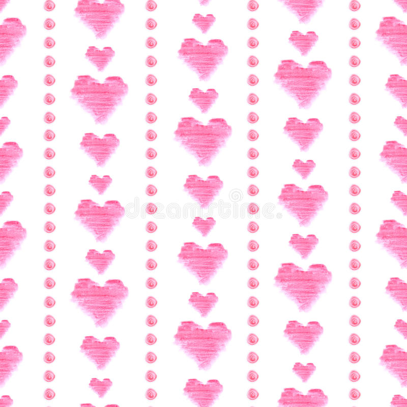 Seamless pattern with pink watercolor hearts on white background. Hand drawn elements. royalty free illustration