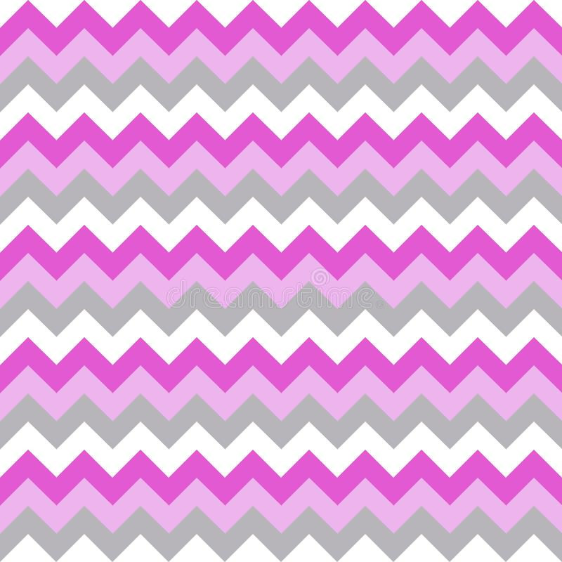 Seamless pattern with pink, white, gray zigzag. stock illustration