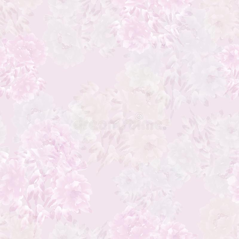 Seamless pattern of pink, white, green flowers of peonies on a light violet background. Floral background. Watercolor vector illustration