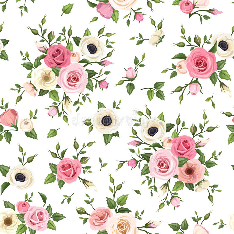Seamless pattern with pink and white roses, lisianthus and anemone flowers. Vector illustration. vector illustration