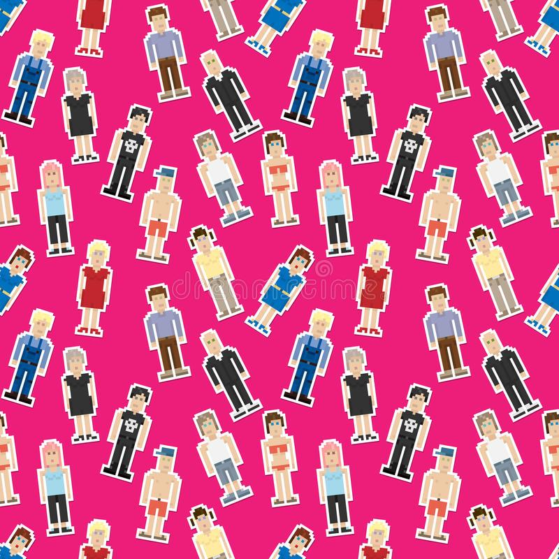 Download Seamless Pattern With Pixel People Stock Vector - Illustration: 26389632