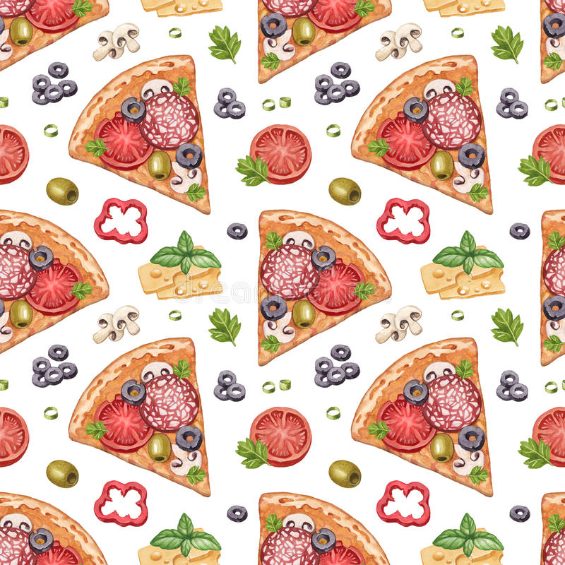 Seamless pattern with pizza illustrations stock illustration