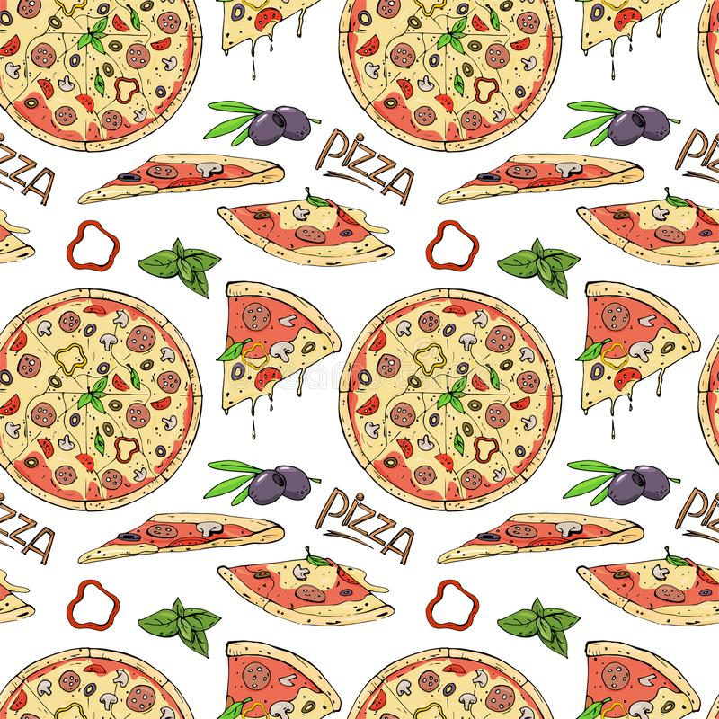 Seamless pattern of pizza and ingredients on white background. vector illustration
