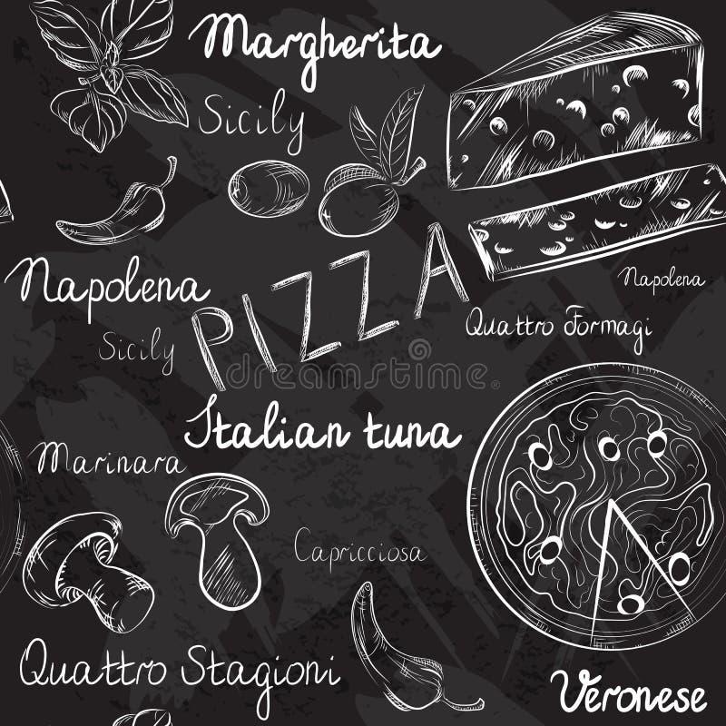 Seamless pattern with Pizza menu royalty free illustration