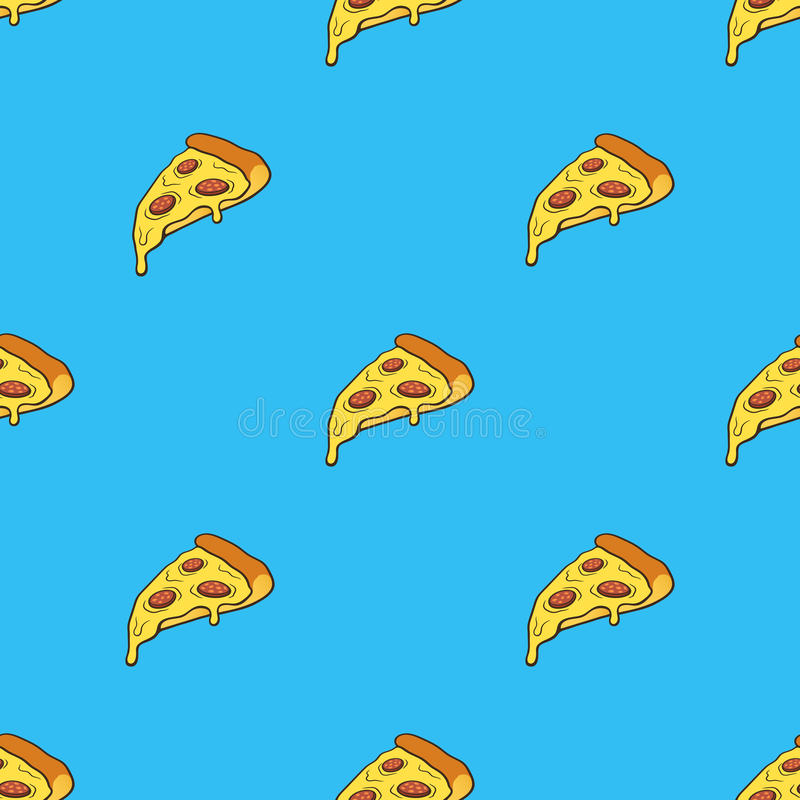 Seamless pattern with pizza slice with contour in pop art style stock illustration
