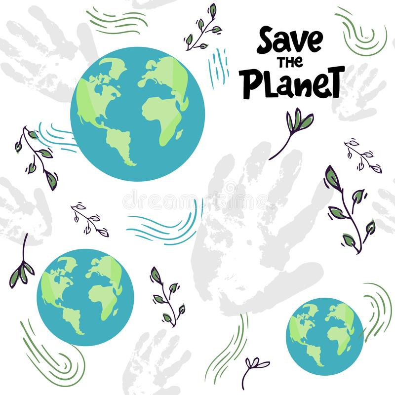 Seamless pattern with planet on white background - the Earth and lettering words. Go green vector illustration. Save the. Earth. Fabric,Wallpaper. hand drawing vector illustration