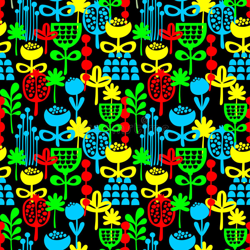 Download Seamless Pattern With Plants. Stock Vector - Illustration: 34975855