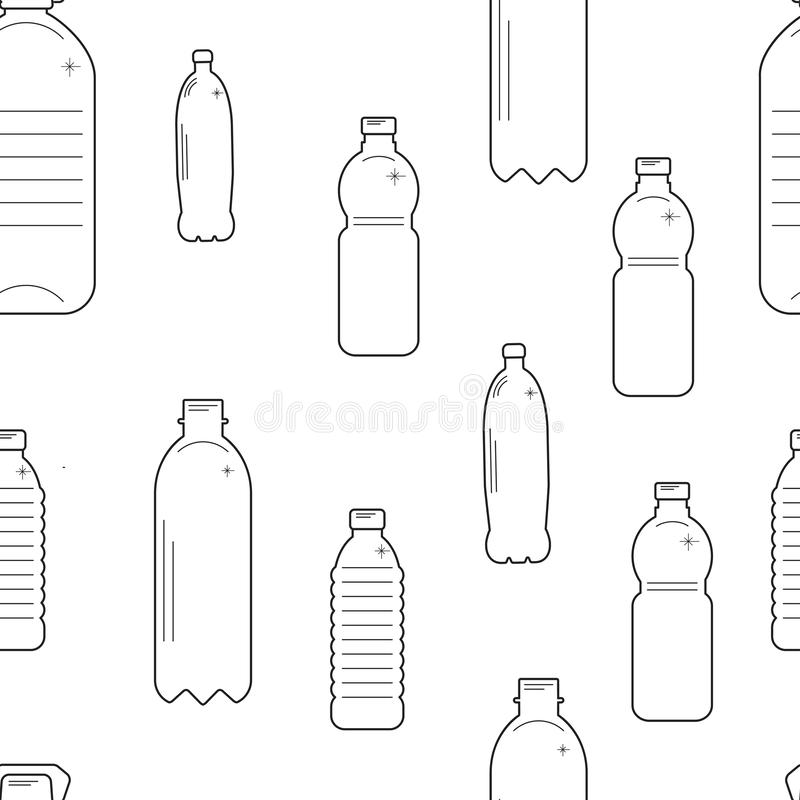 Vector plastic recyclable items. Seamless pattern with plastic bottles royalty free illustration