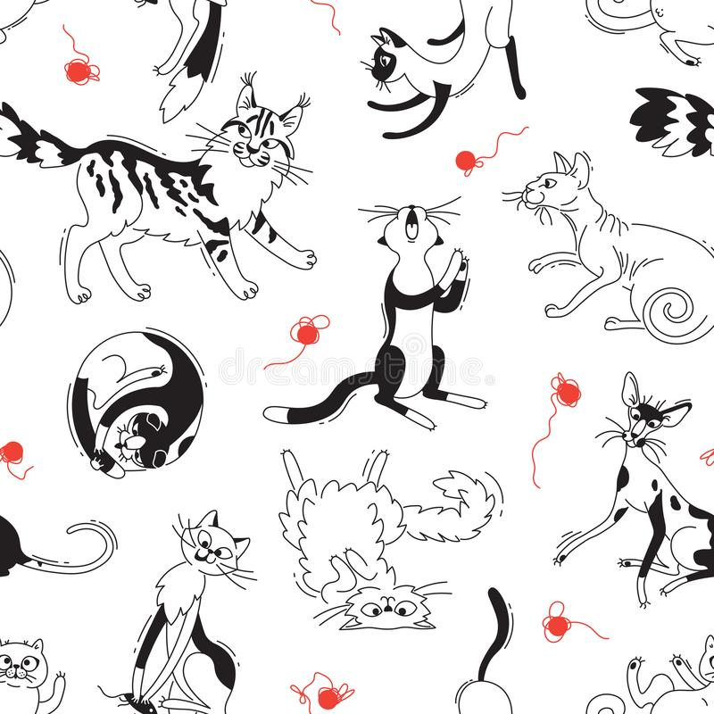 Seamless pattern with playing cats of different breeds and skeins of yarn. Cat in the style doodle cartoon. Vector. Background royalty free illustration