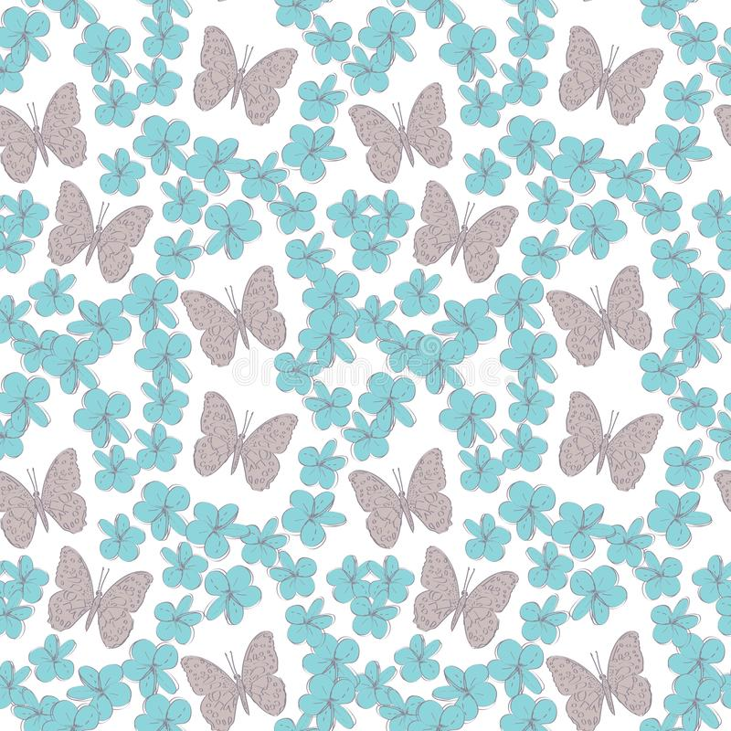 Seamless pattern plumeria flowers butterflies sketch, blue grey contour isolated on white background. simple ornament, Can be used vector illustration