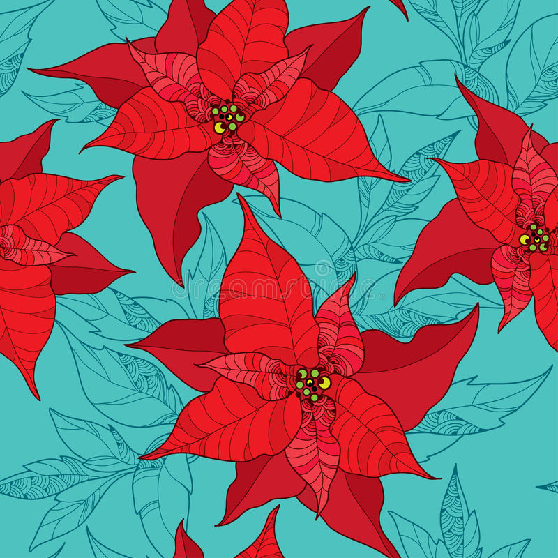 Seamless pattern with Poinsettia flower or Christmas Star in red on the turquoise background. Traditional Christmas symbol. vector illustration