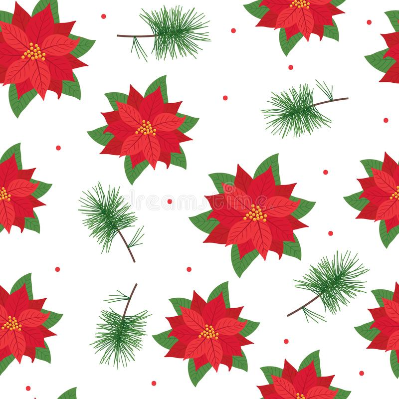 Seamless pattern poinsettia on white background vector illustration
