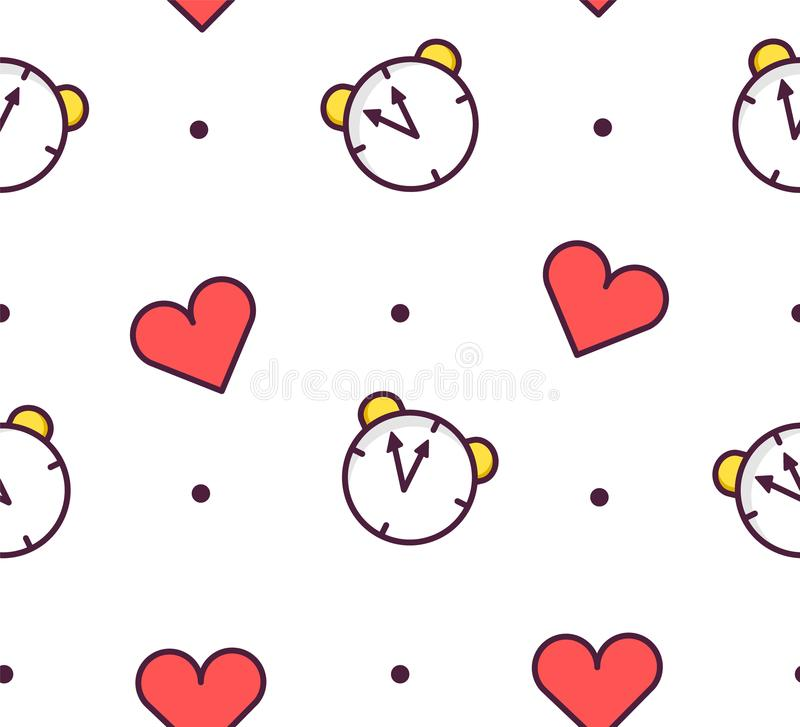Seamless pattern in polka dot with alarm clock and hearts on white background. Thin line flat design. Vector royalty free illustration