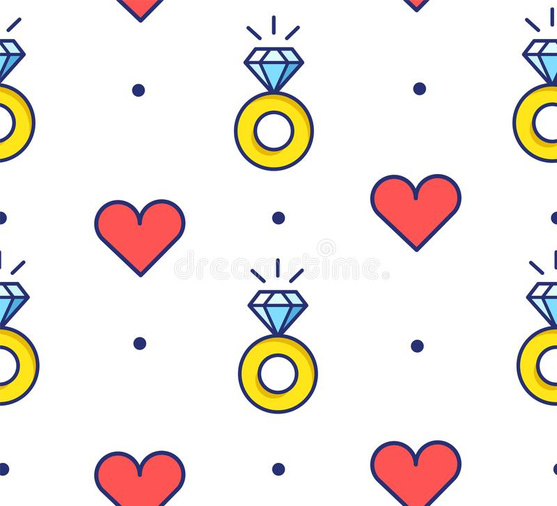 Seamless pattern in polka dot with engagement rings and hearts. Thin line flat design. Vector background royalty free illustration