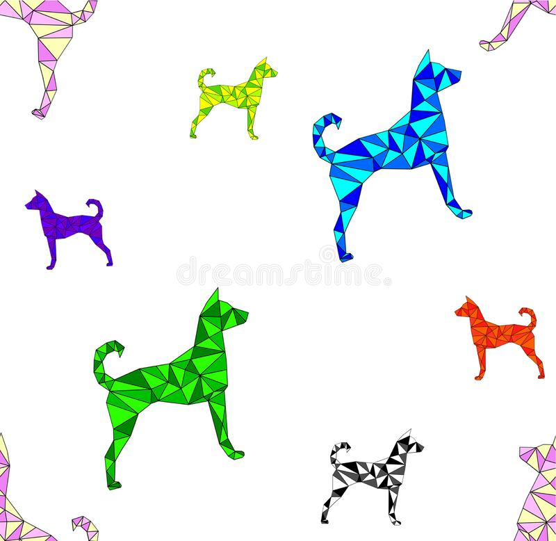 Seamless pattern with polygonal triangle dogs of different colors on white background. For fabric, textile design, wrapping paper or wallpaper. Concepts: new stock illustration