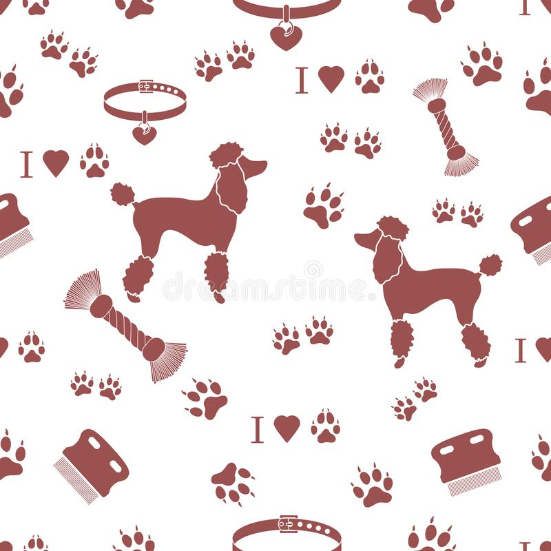 Seamless pattern with poodle silhouette, comb, collar, dog track royalty free illustration