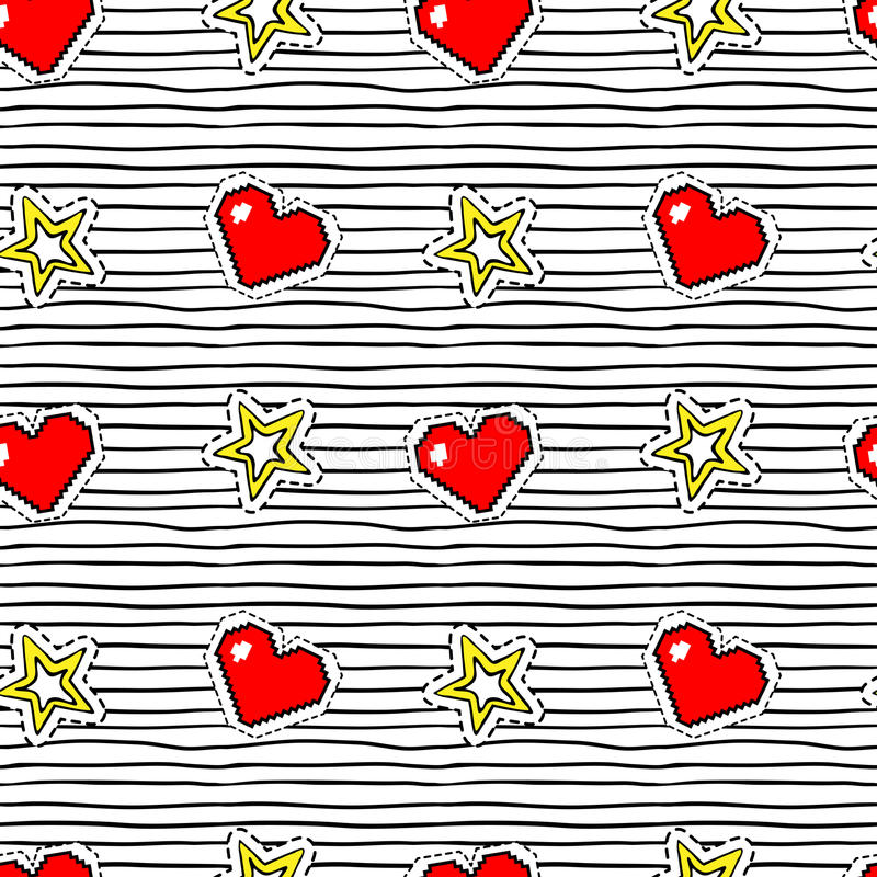 Seamless pattern with pop art stickers with pixel heart and star on texture with black stripes. stock illustration