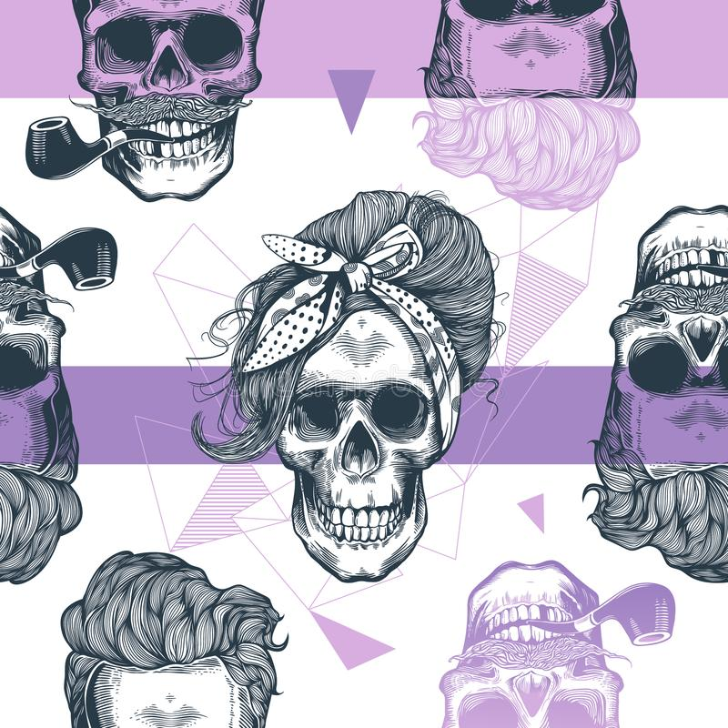 Seamless pattern in pop art style with skeleton womens heads, fashion scarf and hairstyle, against triangle and purple royalty free illustration