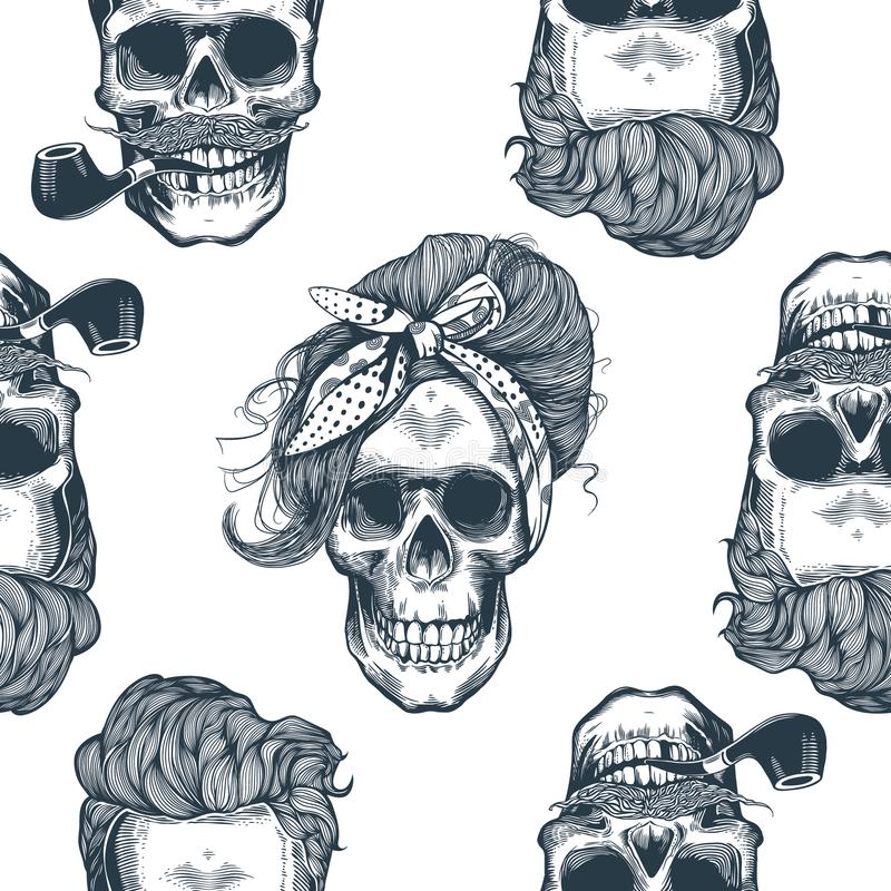 Seamless pattern in pop art style with skeleton womens heads, fashion scarf and hairstyle, against triangle and purple stock illustration