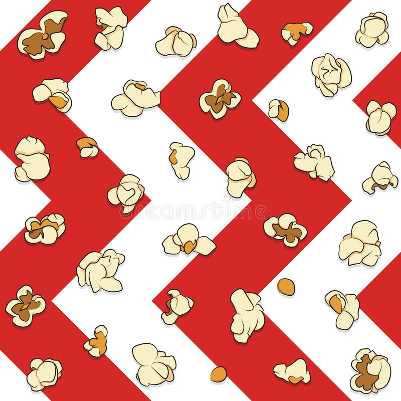Seamless pattern with popcorn on a white and red background. Color background. vector illustration