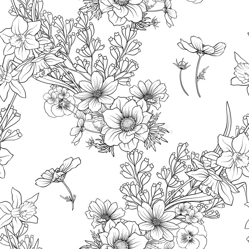 Vector Line Drawing Flower Pattern : Seamless pattern with poppy flowers daffodil anemone