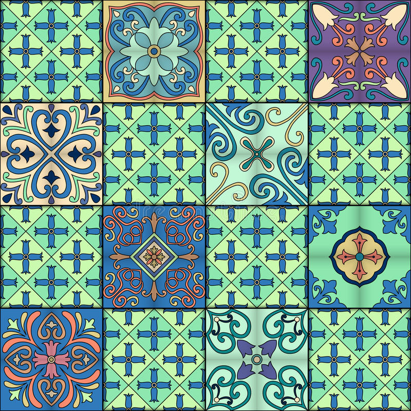 Seamless pattern with portuguese tiles in talavera style. Azulejo, moroccan, mexican ornaments. vector illustration
