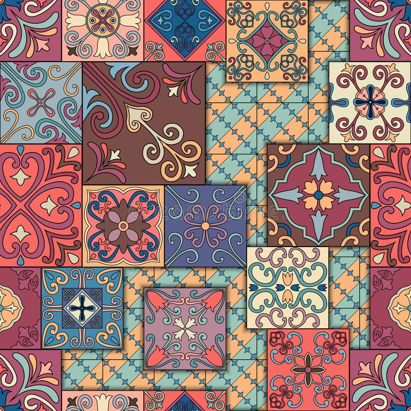 Seamless pattern with portuguese tiles in talavera style. Azulejo, moroccan, mexican ornaments. stock illustration