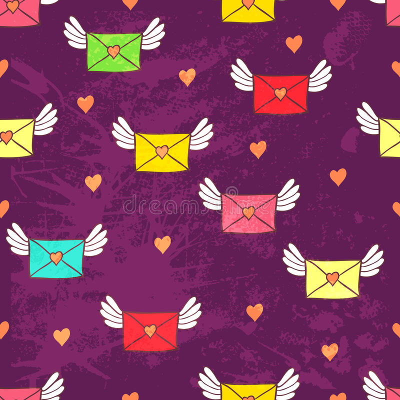 Seamless pattern with post letters. Love mail. Copy square to th. E side and you'll get seamlessly tiling pattern which gives the resulting image ability to be royalty free illustration