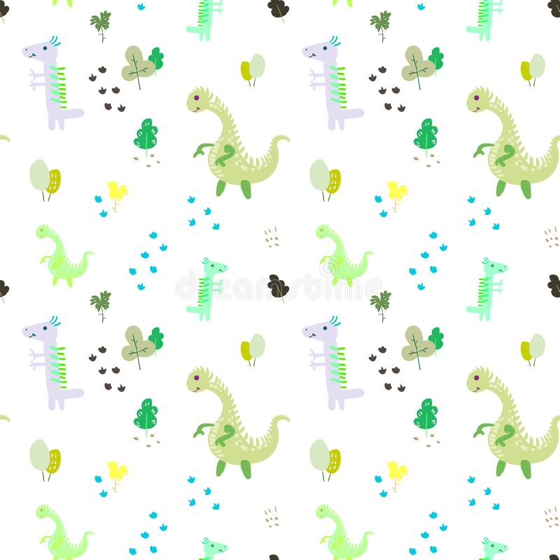 Seamless pattern. Prehistoric period. Cartoon Scandinavian vector illustration. For children`s fabrics, wallpaper, textiles. Cute vector illustration