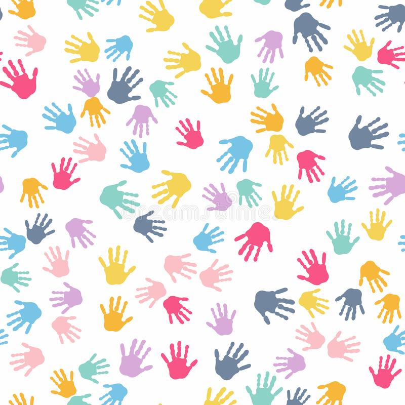 Seamless Pattern. Print of Kids Hands. royalty free illustration