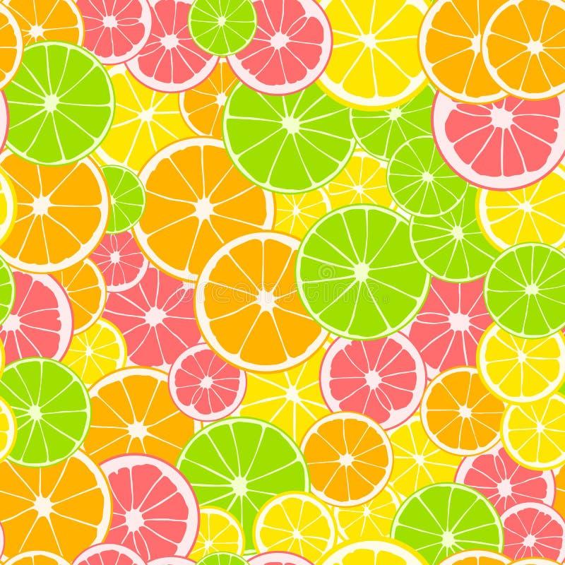 Seamless pattern. Print of slices of green lime, yellow lemon, pink grapefruit and orange. Citrus fruit background. royalty free illustration