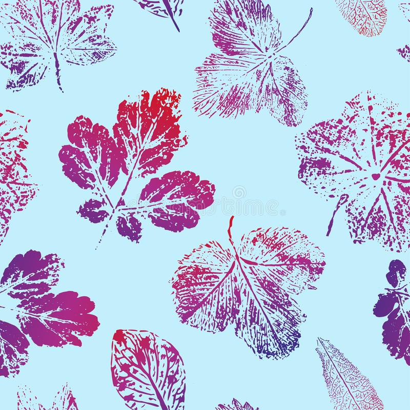 Seamless pattern of prints of red-blue leaves on a blue background. Vector vector illustration