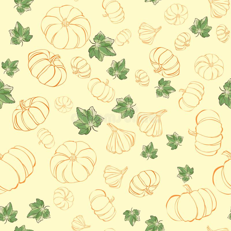 Seamless pattern with pumpkin and leaves. Autumn wallpaper royalty free illustration